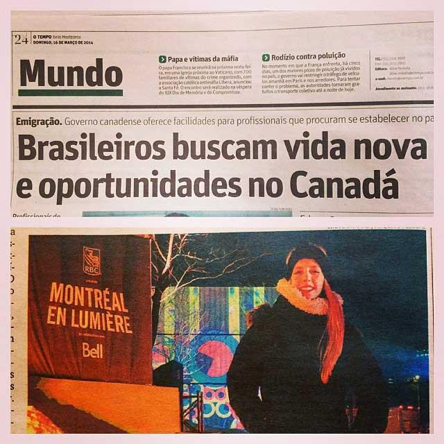 Artigo no jornal O Tempo, em Minas Gerais, sobre a minha trajetória como imigrante no Canadá